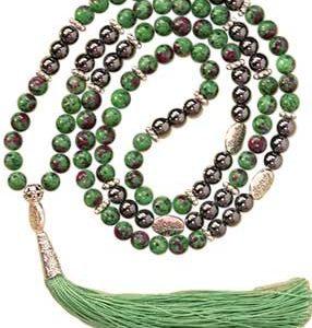 Ruby Zoisite & Hematite Mala Beads