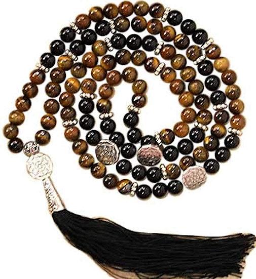 Tigers Eye & Black Agate Mala Prayer Beads
