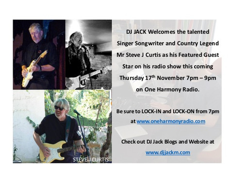 The DJJACK SHOW THURSDAY 17th Nov 7pm - 9pm on One Harmony Radio - It's The Country Music Show w