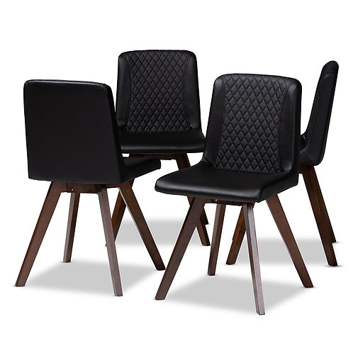 PERNILLE MODERN TRANSITIONAL BLACK FAUX LEATHER (SET OF 4)