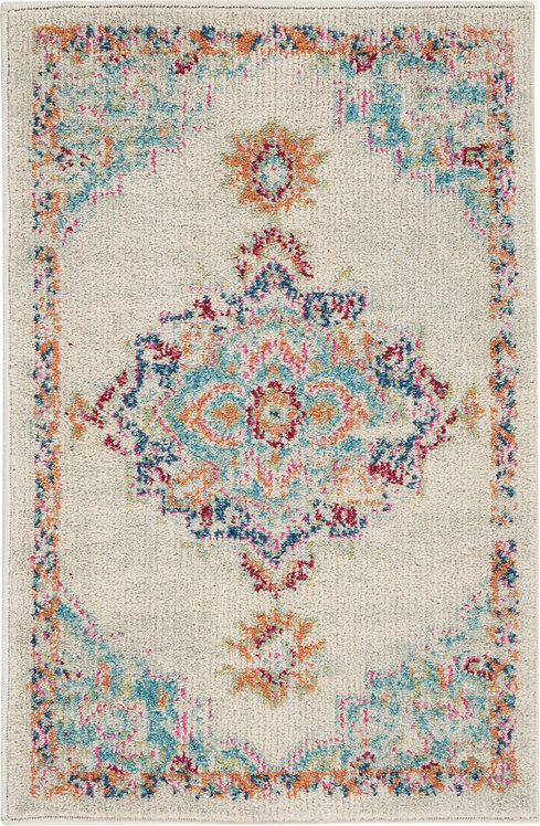 Nourison Passion 2'x3' Grey, Ivory, Multicolored  Bohemian   Area Rug
