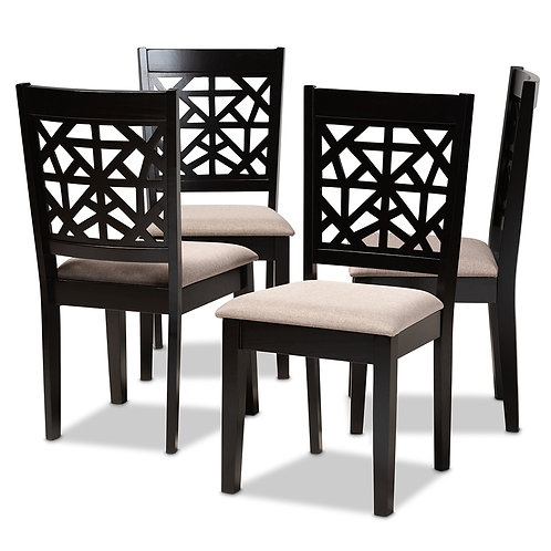 JACKSON MODERN AND CONTEMPORARY SAND FABRIC UPHOLSTERED DINING CHAIRS SET OF 4