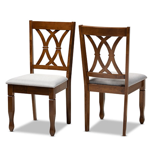 AUGUSTINE MODERN AND CONTEMPORARY GREY FABRIC DINING CHAIRS ( SET OF 2)