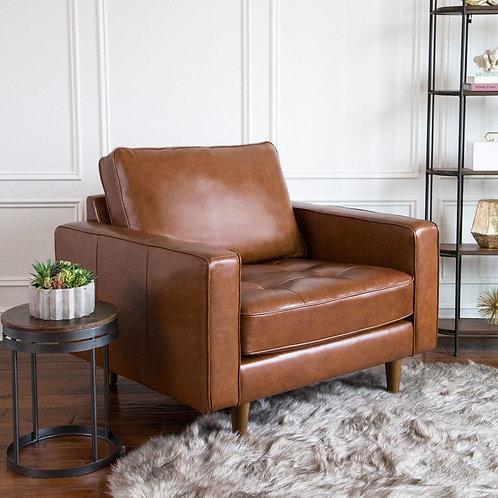 Holloway Mid Century Top Grain Leather Armchair - Camel