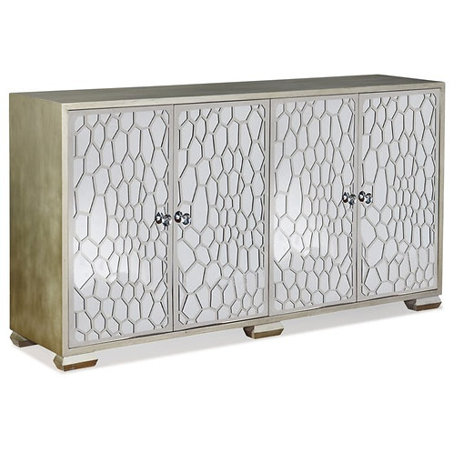 Honeycomb Mirrored Four Door Credenza