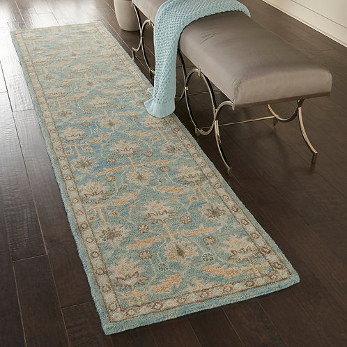 Jazmine JAZ02 Light Blue and Beige  Wool Hallway Rug
