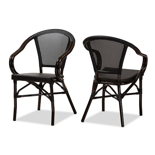 ARTUS CLASSIC FRENCH INDOOR AND OUTDOOR BLACK BAMBOO STYLE DINING CHAIR S