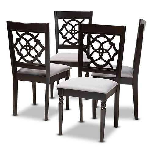 RENAUD MODERN AND CONTEMPORARY GREY FABRIC UPHOLSTERED SET OF 4
