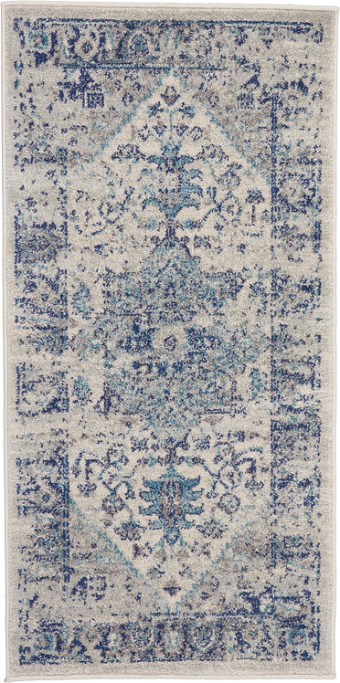 Nourison Tranquil 2'x4' Navy Blue and White Persian Small Rug