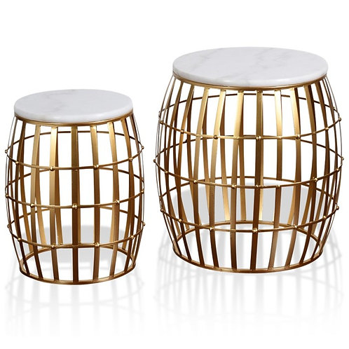 Gold Cage Marble Top Nesting Table Set