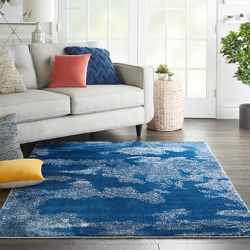Etchings Blue Abstract Area Rug