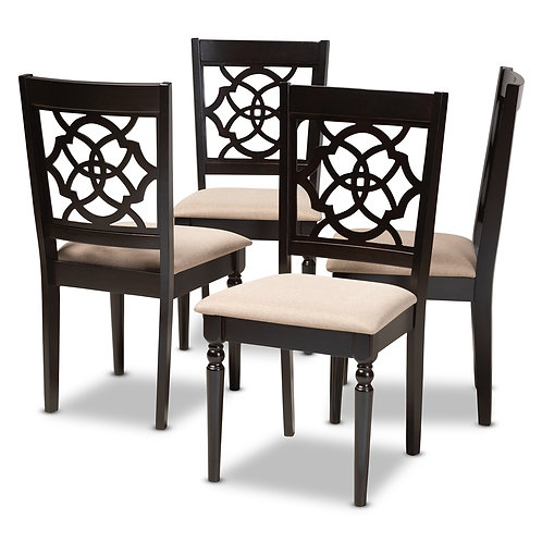 RENAUD MODERN AND CONTEMPORARY SAND FABRIC UPHOLSTERED SET OF 4