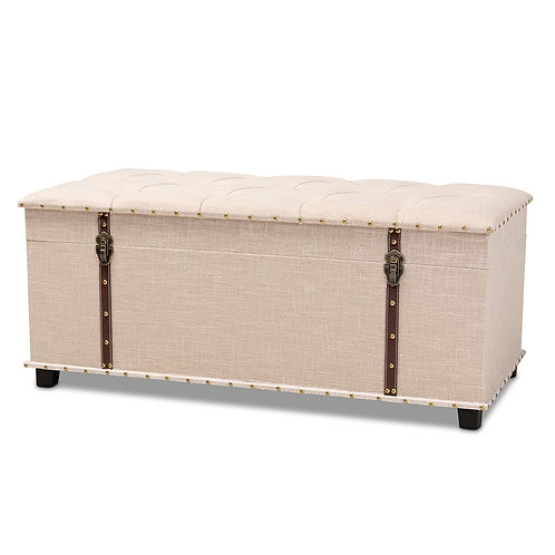 KYRA MODERN AND CONTEMPORARY BEIGE FABRIC UPHOLSTERED STORAGE TRUNK OTTOMAN