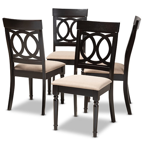 LUCIE MODERN AND CONTEMPORARY SAND FABRIC UPHOLSTERED SET OF 4
