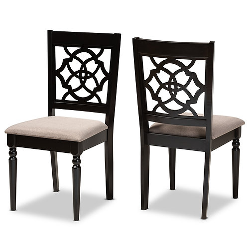 RENAUD MODERN AND CONTEMPORARY SAND FABRIC UPHOLSTERED DINING CHAIRS ( SET OF 2)