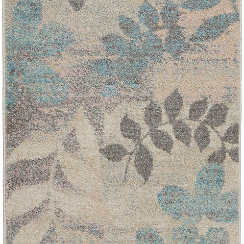 Nourison Tranquil 2' x 4' White and Blue Farmhouse Small Rug