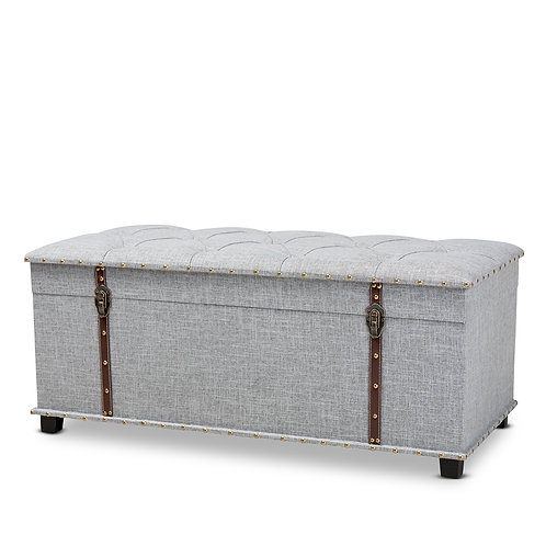 KYRA MODERN AND CONTEMPORARY GREY FABRIC UPHOLSTERED STORAGE TRUNK OTTOMAN
