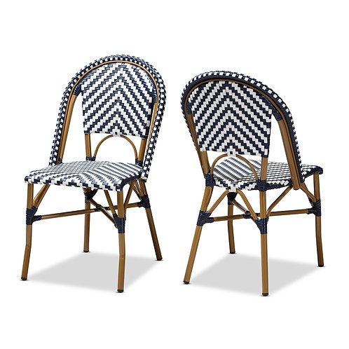 CELIE CLASSIC FRENCH INDOOR AND OUTDOOR BLUE AND WHITE BAMBOO CHAIRS SET OF 2