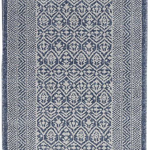 Palermo Blue and Grey Distressed Bohemian Area Rug