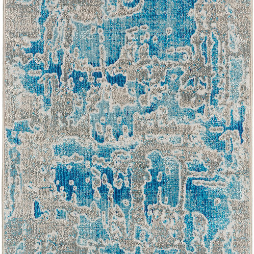 Nourison Radiant RAD06 Blue and Grey 7' Runner Low-pile Hallway Rug