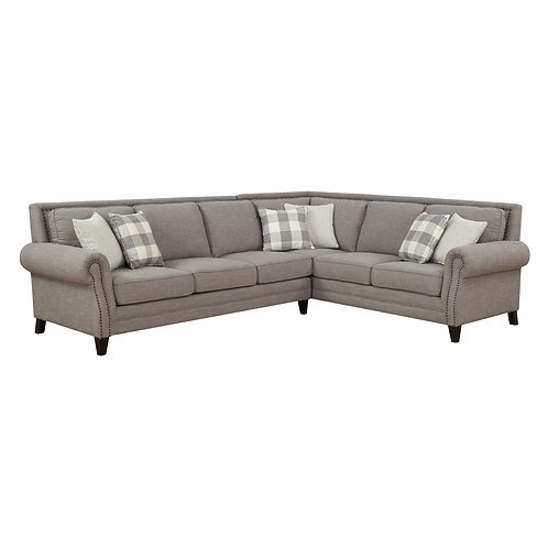 Willow Creek  2PC-LSF SOFA-RSF CORNER SOFA W/6 ACCENT PILLOWS-PEBBLE GRAY