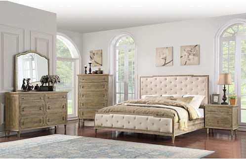 Interlude White Linen Queen Tufted Upholstered Bed