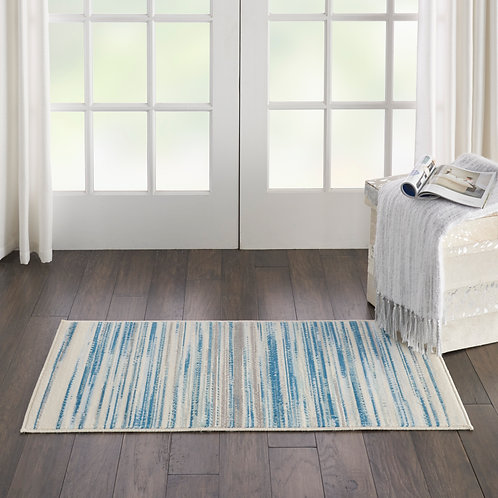 Jubilant Small Teal Blue and White Striped Area Rug