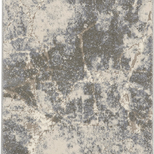 kathy ireland Home Sahara KI394 Grey and White 8' Runner  Hallway Rug