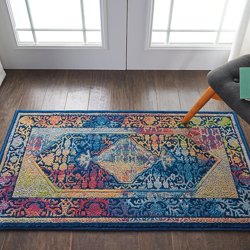 Ankara Global ANR04 Blue Multicolor Boho Area Rug