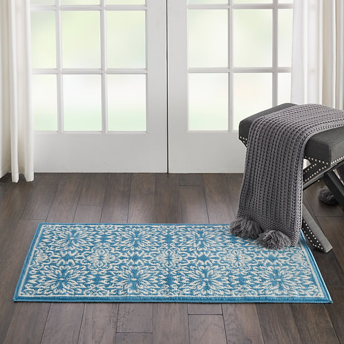 Jubilant Ivory Blue Transitional Area Rug
