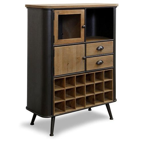 Black Metal and Wood Wine Cabinet