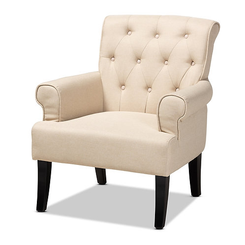 BARRET BEIGE LINEN FABRIC UPHOLSTERED ROLLED-ARM BUTTON ACCENT CHAIR