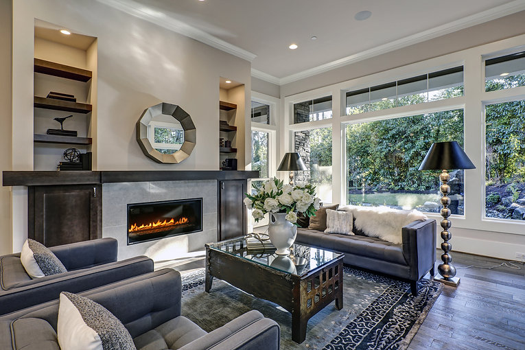 Chic living room filled with built-in ca