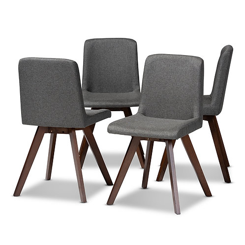 PERNILLE MODERN TRANSITIONAL GREY FABRIC UPHOLSTERED DINING CHAIR ( SET OF 4 )