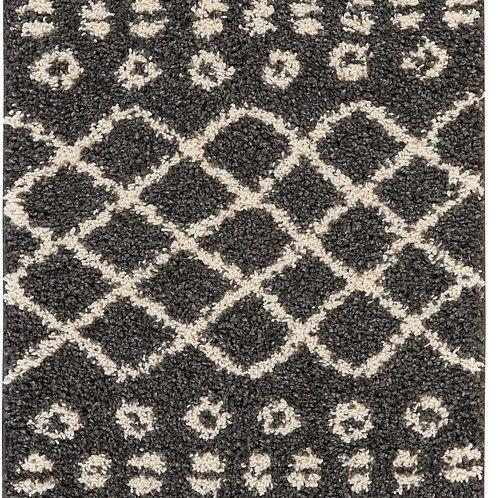 Moroccan Shag Black Plush Area Rug