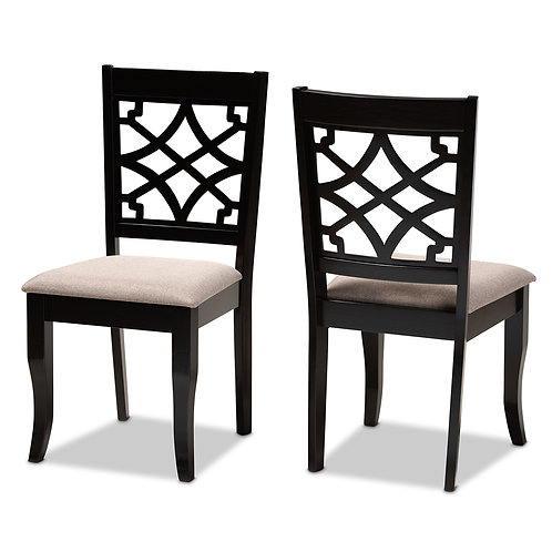 MAEL MODERN AND CONTEMPORARY SAND FABRIC UPHOLSTERED DINING CHAIRS (SET OF 2)