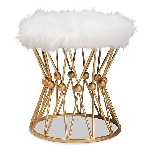 LEONIE GLAM AND LUXE WHITE FAUX FUR UPHOLSTERED GOLD FINISHED METAL OTTOMAN