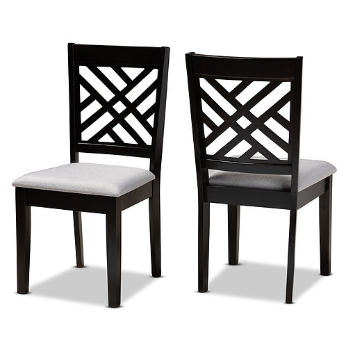 CARON MODERN AND CONTEMPORARY GREY FABRIC UPHOLSTERED (SET OF 2)
