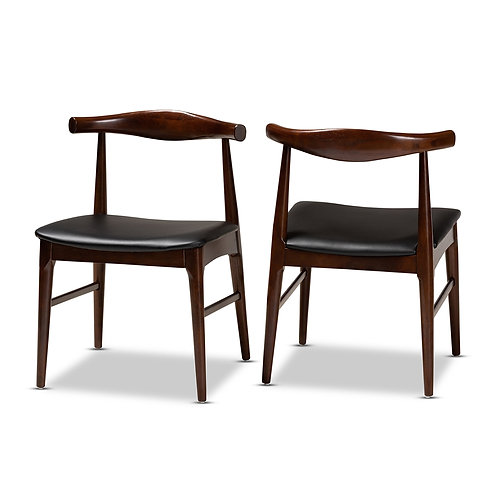 EIRA MID-CENTURY MODERN BLACK FAUX LEATHER UPHOLSTERED DINING CHAIRS SET OF 2