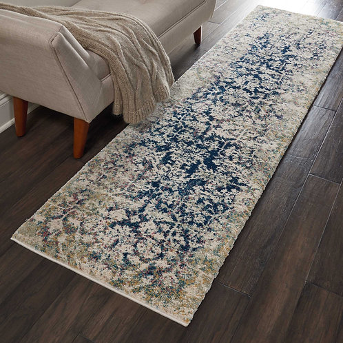Fusion FSS12 Blue and Ivory Runner Plush Shag Hallway Rug