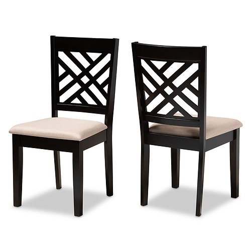 CARON MODERN AND CONTEMPORARY SAND FABRIC UPHOLSTERED (SET OF 2)