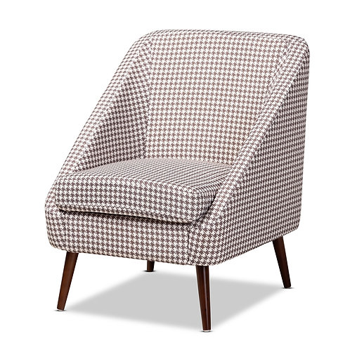 GIA MODERN AND CONTEMPORARY BROWN AND WHITE HOUNDSTOOTH ACCENT CHAIR