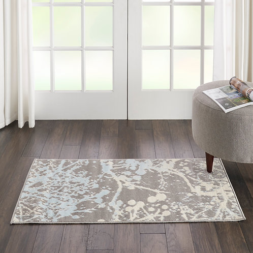 Jubilant Small Grey and Blue Nature-inspired Area Rug
