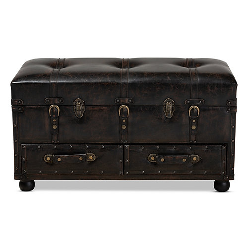 CALLUM MODERN TRANSITIONAL DARK BROWN FAUX LEATHER UPHOLSTERED OTTOMAN