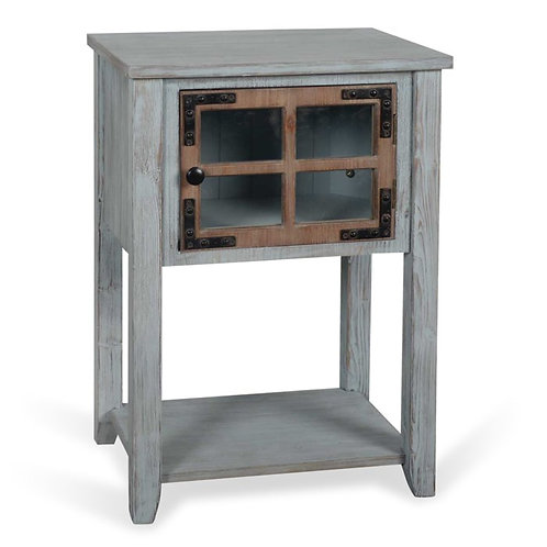 Antique Blue and Weathered Wood Side Table