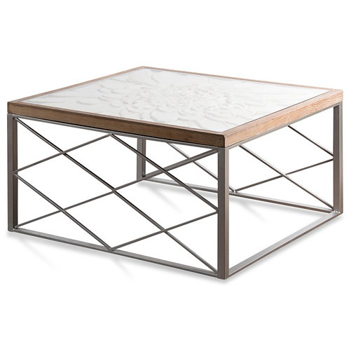 Wooden Floral Engraved Glass Top Coffee Table