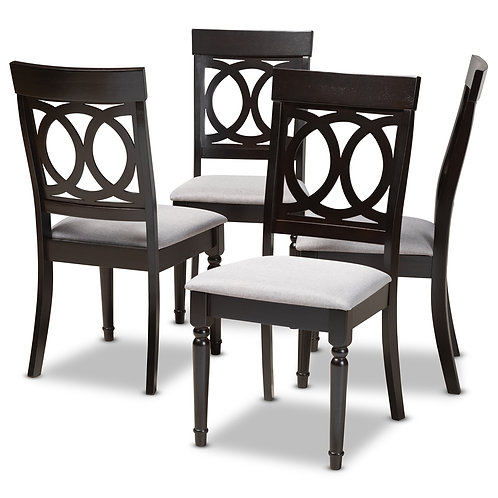 LUCIE MODERN AND CONTEMPORARY GREY FABRIC UPHOLSTERED SET OF 4
