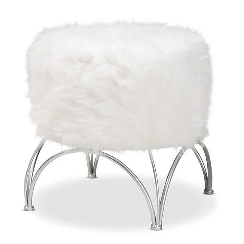 CELIA MODERN AND CONTEMPORARY WHITE FAUX FUR UPHOLSTERED SILVER METAL OTTOMAN