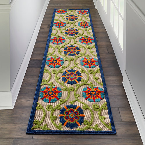 Aloha ALH19  Runner Blue Multicolor Easy-care Indoor-outdoor Rug