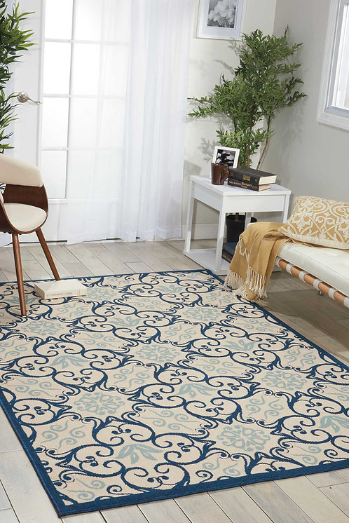 Caribbean Dark Blue and White Colorful Indoor-outdoor Area Rug